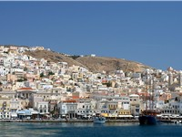 The Hermoupolis port in the island of Syros is the capital of the Cyclades.