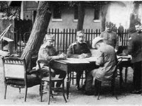 King Constantine(center) and Eleftherios Venizelos(seated,with back to camera) in 1913,during the Ba