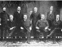Cleveland's first cabinet. Front row, left to right: Thomas F. Bayard, Cleveland, Daniel Manning, Lu