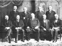 Cleveland's last cabinet. Front row, left to right: Daniel S. Lamont, Richard Olney, Cleveland, John