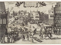 Seventeenth century print of the members of the Gunpowder plot being hanged, drawn and quartered.