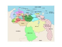 Areas with red stripe are parts of Guyana historically claimed by Venezuela
