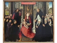 Hans Memling's La Vierge et l'Enfant entre Saint-Jacques et Saint-Dominique (1488-1490). Note the be