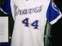 The jersey Hank Aaron wore when he broke Babe Ruth's record