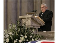 Kissinger speaking during Gerald Ford's funeral in January 2007.
