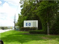 Main entrance of HP United States offices in unincorporated Harris County, Texas