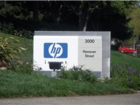 HP Welcome sign at main entrance of headquarters