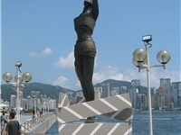 A statue on the Avenue of Stars, a tribute to Hong Kong cinema