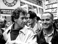 Ian McKellen (left) with Michael Cashman at the Gay Rights March on Manchester in protest of Section