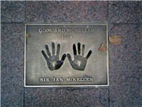 The hands of McKellen on a 1999 Gods and Monsters plaque.