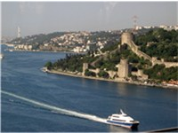 A Seabus and the Rumeli Castle.