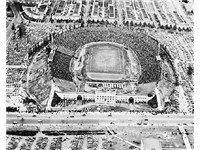Memorial Stadium with 33rd Street in the foreground