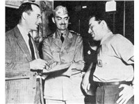 Robert A. Heinlein, L. Sprague de Camp, and Isaac Asimov, Philadelphia Navy Yard, 1944.