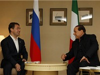 Silvio Berlusconi and Dimitry Medvedev at the 34th G8 Summit.