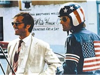 Jack Nicholson as lawyer George Hanson in Easy Rider with Peter Fonda.