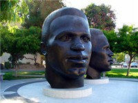 Memorial busts of Jackie and Mack Robinson near Pasadena City Hall in California.