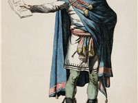 Republican costume designed by David. Engraving by Denon.