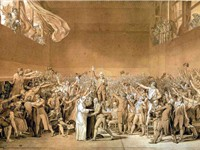 Sketch by Jacques-Louis David of the Tennis Court Oath. David later became a deputy in the National