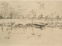 Zaandam, the Netherlands, c. 1889. Etching by James McNeill Whistler.