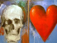 'Study for This Sovereign Life', oil painting with sand by Jim Dine, 1985