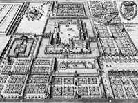The palace and gardens at C then in an engraving from Matth us Merian's Topographia (1650)