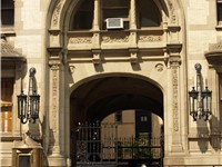 The entrance to the Dakota building where Lennon lived.