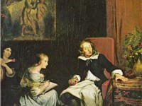 "Milton Reading for his daughters the ""Paradise Lost"", c. 1826. Artist: Eug ne Delacroix."