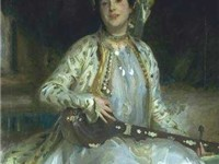 Sargent emphasized Almina Wertheimer's exotic beauty in 1908 by dressing her en turquerie