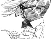 A caricature of John Updike from The New York Review of Books by David Levine, who has drawn Updike