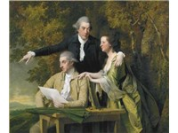 D'Ewes Coke his wife, Hannah, and his cousin Daniel Coke, by Wright, c. 1782