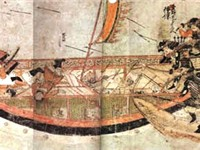 Japanese samurai boarding Mongol ships in 1281.