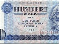 100 Mark der DDR note used in the German Democratic Republic. 100-Mark banknotes with Marx's portrai