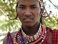 A Maasai man in traditional attire