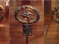 Decorated sword hilts of the Kofun period, 6th century, Japan.