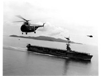 The helicopter came into its military own in the Korean War. A US Navy Sikorsky H-19 Chickasaw flyin