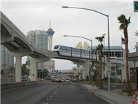 The Las Vegas Monorail pulling into the Las Vegas Convention Center Station.