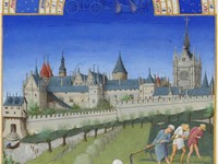 Peasants working outside city walls (June of the Tr s Riches Heures du duc de Berry.