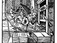16th century printing press. Gutenberg's invention had a great impact on social and political develo