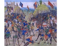 A miniature of the Battle of Cr cy (1346), from a manuscript of Jean Froissart's Chronicles. The Hun