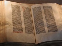 A copy of the Gutenberg Bible on display at the Library of Congress