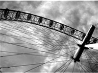 Monochrome image of the London Eye