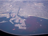 Aerial view of western Long Beach, with the port at center