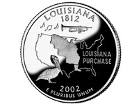 Louisiana and the State of Louisiana shown on the Louisiana State Quarter
