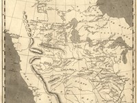 "A contemporary mapmaker's vision of ""Louisiana"", edged on the west by the Rocky Mountains"