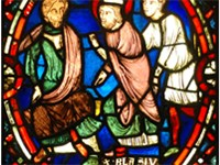 French stained glass panel, 13 century, depicting Saint Blaise