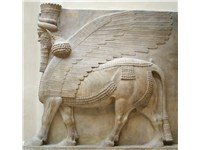 Human-headed winged bull (shedu), Assyria, limestone, 8th century BCE.