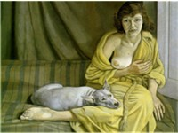 Girl with a white dog, 1951 - 1952, Tate Gallery The subject is Freud's first wife, Kitty (Kathleen)