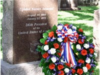 A memorial wreath at President Johnson's grave in Texas