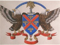 The coat of arms granted to President Johnson in 1968 by the American College of Heraldry and Arms.
