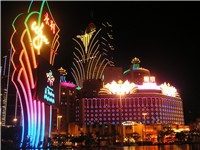 Casinos are everywhere in Macau. Pictured here are the Wynn Macau, Casino Lisboa and Grand Lisboa.
